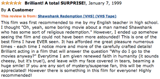 One of the earliest Amazon.com customer reviews for The Shawshank Redemption.