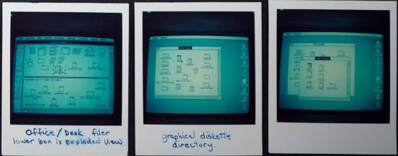 Polaroids documenting the evolution of the Mac / Lisa user interface, with buttons modeled after desktop objects (click to enlarge)